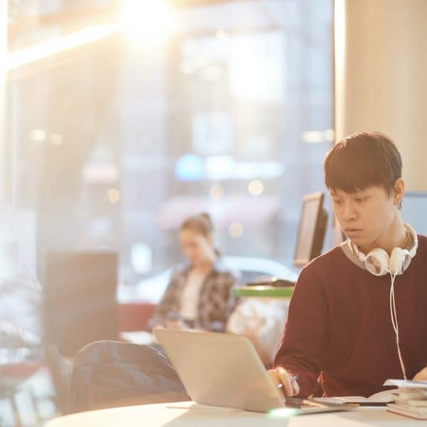 College student using laptop